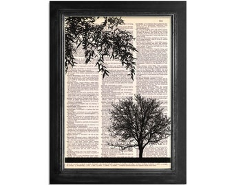A Picture With A View - Tree Silhouette Printed on Vintage Dictionary Paper - 8x10.5