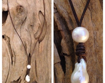Leather and Pearls - Long Baroque Pearls and Leather Necklace, Pearls and Leather