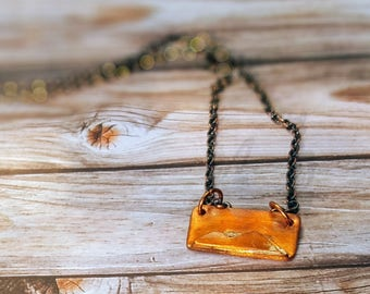 Copper Mountains Necklace// Hand Sawn// Handmade Copper Pendant