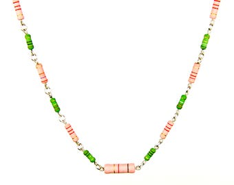 Pink and Green Resistor Chain Necklace