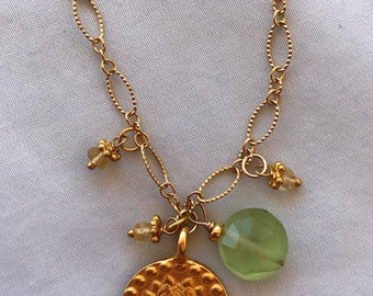 Gold Vermeil Lotus Pendant Necklace with Yellow Citrine and Prehnite