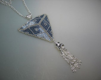 Blue Gray and Silver Peyote Stitched Glass Seed Bead Necklace Hand Made