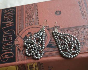Victorian CUT Steel Buckle Earrings - OOAK Silver Pierced Earrings with 835 Silver Hooks