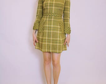 70's PLAID MINI DRESS - wool - pockets - x-small/small