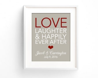 Love Laughter Happily Ever After | Anniversary Gift for Couple | Wedding Gift | Bridal Shower Gift | 1st Anniversary | 1 Year Anniversary