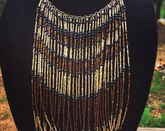 Tribal beaded choker necklace