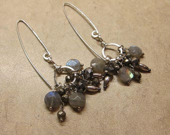 Labradorite, Pyrite and Hematite Hand Hammered Hoop Earrings Earth and Wind Polarity - by Silla - LPHWEPE1
