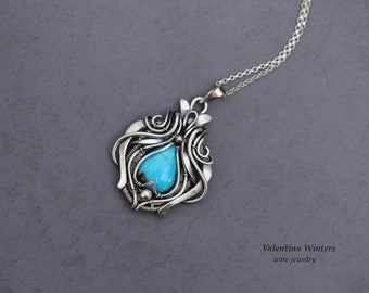 Turquoise silver necklace. Nevada turquoise stone, silver jewelry, handmade jewelry, wire wrap jewelry