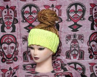 Handmade knitted bright neon yellow dread wrap headband,  70% Acrylic, 30 Wool | Women headband | Dreadband | Dread accessories