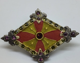 Vintage Enamel Art Nouveau Diamond Shaped Brooch with Swarovski Crystals Catherine Popesco La Vie Parisienne