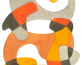 Big Abstract Art Print Poster 'Swirling' Mid Century Modern BIG Print Home decor Orange Mustard Yellow Brown Gray 11 x 16