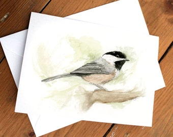 Chickadee Bird - Watercolor Greeting Card A2 (Pack of 6)