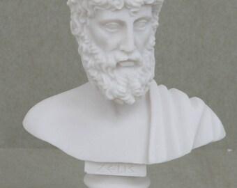 "ZEUS Greek God of the Sky Greek Roman Bust Head Alabaster Statue Sculpture 6.3"""