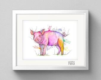 A4 Pig Watercolour Print