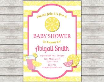 Pink Lemonade Baby Shower Invitation, Lemonade Baby Shower Invitation - Digital File (Printing Services Available)