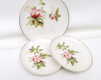 Vintage Serving Plates | Cake Plates | Dessert Plates | Small Rose Plates | 1940s China Plates | Open Rose Pattern - Lot of 3