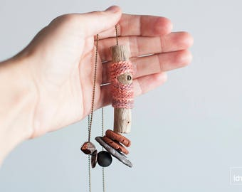 Driftwood Art. Eco Friendly Jewelry. One of a kind Ceramic Necklace. Pink & Lilac Crochet. Artisan Wooden necklace. Ceramic cooper finish.