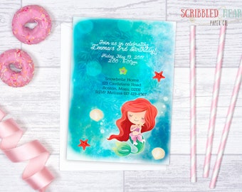 little mermaid. birthday invitation { digital }