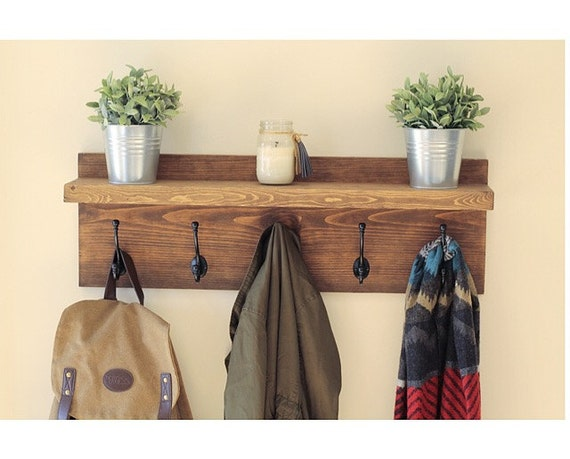 Rustic Wooden Entryway Coat Rack, Rustic Wooden Shelf, Entryway Rack, Coat Rack, Rustic Home Decor, Rustic Furniture, Floating Shelf