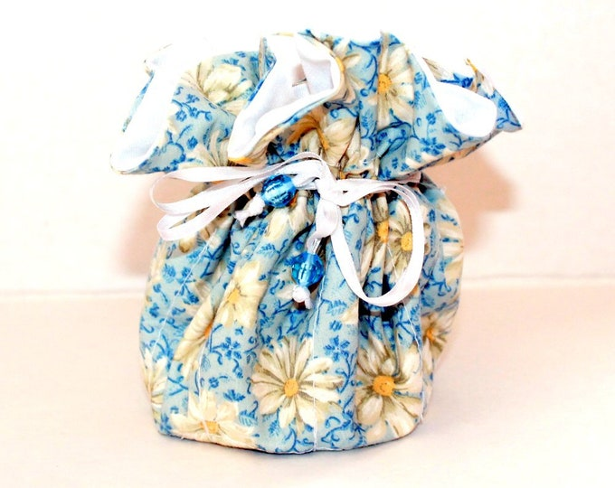 DAISY AND WHITE, Fabric Jewelry Organizer ~ Pouch ~ Storage Case ~ Bag ~ Tote - Bell Art Designs ~ Medium JBMD0433