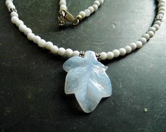 Necklace, Chalcedony, Leaf, Pendant, blue, elegant, classic