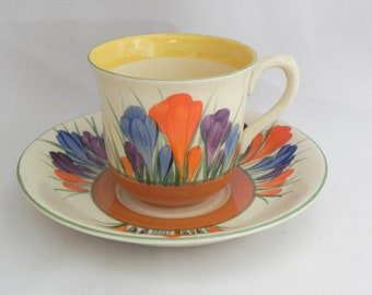 Vintage - Early CLARICE CLIFF - Demitasse Cup and Saucer *CROCUS* pattern -Mint