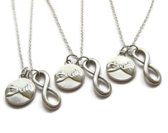 3 Pinky Promise Pinky Swear  Infinity Best Friend Sisters Necklaces BFF