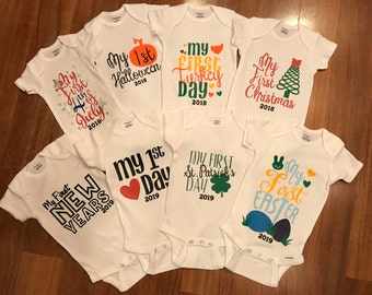 Set of 8 First Holiday Onesies
