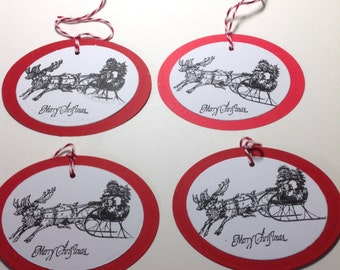 4 CHRISTMAS Gift Tags, Tree ORNAMENTS, SANTA Gift Tags