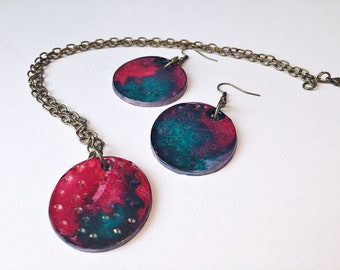 Polymer Clay Jewelry Set - Matching Earrings and Pendant Necklace - Bright  Colored Jewellery - Birthday Gift for Her Mothers Day Gift