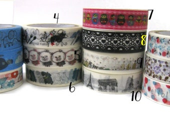 Washi  adhesive tape - mix and match - 10 mt long! - Kawaii