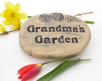 Grandma gift Garden accent. Handmade ceramic tile. Mother's Day gift for grandma. Solid brick
