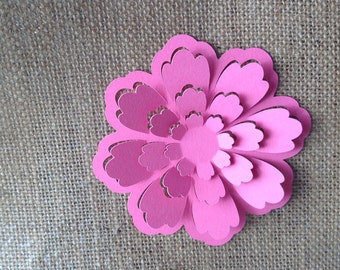 Paper Flower die cut for card making  set of 5 in any colour