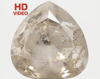 Natural Loose Diamond Heart Yellow Grey Color I2 Clarity 5.20X5.10X2.70 MM 0.54 Ct N6373