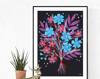 Night Bouquet Floral A3 Poster