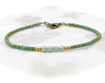 Turquoise Friendship Bracelet, Green Turquoise Bracelet, Beaded Friendship Bracelet, Seed Bead Bracelet, Miss Ceces Jewels Hawaii Jewelry