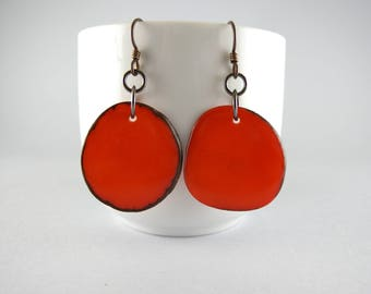 Pumpkin Orange Tagua Nut Eco Friendly Earrings with Free USA Shipping  #taguanut #ecofriendlyjewelry