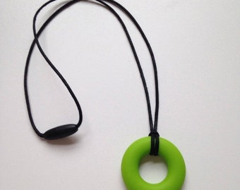 25% OFF Retro kitsch teething pendant necklace - Chartreuse green BPA free silicone chewable teething ring by Little Gnashers