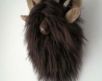 Mongolian Lambswool - Chocolate Brown - Jute - Ram Head Wall Art - Home Decor - Paper Mache and Recycled Materials