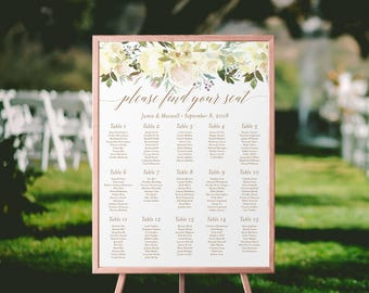 Floral Wedding Seating Chart Printable | Gold, Blush, Seating Plan, Seating Chart, Printable Seating, Boho, Seating Assignment, Greenery