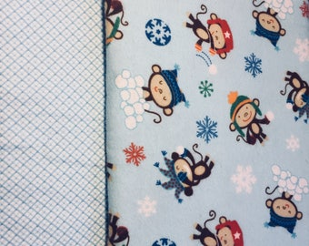 Made to order, Soft Flannel Receiving Blanket, Snow Monkeys, Swaddle