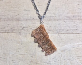 Cute Ribs Necklace Meat Funny Jewelry Polymer Clay