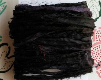10 yards Black Sari Silk Ribbon Yarn, Recycled, Upcycled, Bulky, Solid Black, Ebony, Jet Black, Craft, Jewelry, Knit, Crochet, Weave