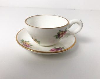 Charming Royal Adderley Miniature Teacup & Saucer - Floral - Bone China Made in England - Vintage - Doll's Tea Party