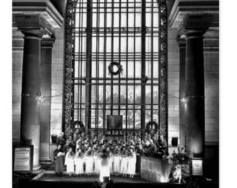 1940 Detroit Train Station Christmas vintage greetings.