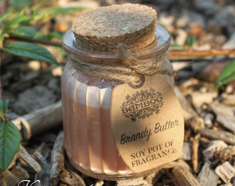 Soy Wax candles brandy butter in glass with cork lid