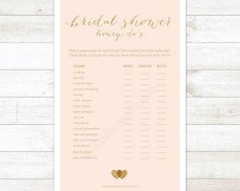 pink gold bridal shower game honey do list, pink gold glitter hearts honey do printable DIY bridal shower digital games - INSTANT DOWNLOAD