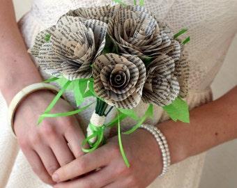 Pride and Prejudice Wedding Bouquet- Book page roses, Jane Austen Bride