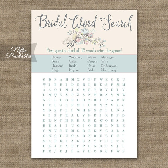 Wedding Word Search: Bridal Shower Word Search Game Floral Bouquet Bridal Shower