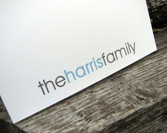 Personalized Family Note Cards Modern Stationery